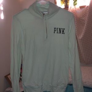 PINK quarter zip, mint green,